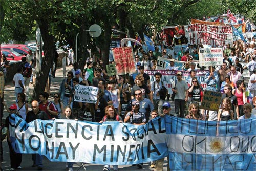 Protest against Coro Mining's open-pit copper project in Mendoza, Argentina.