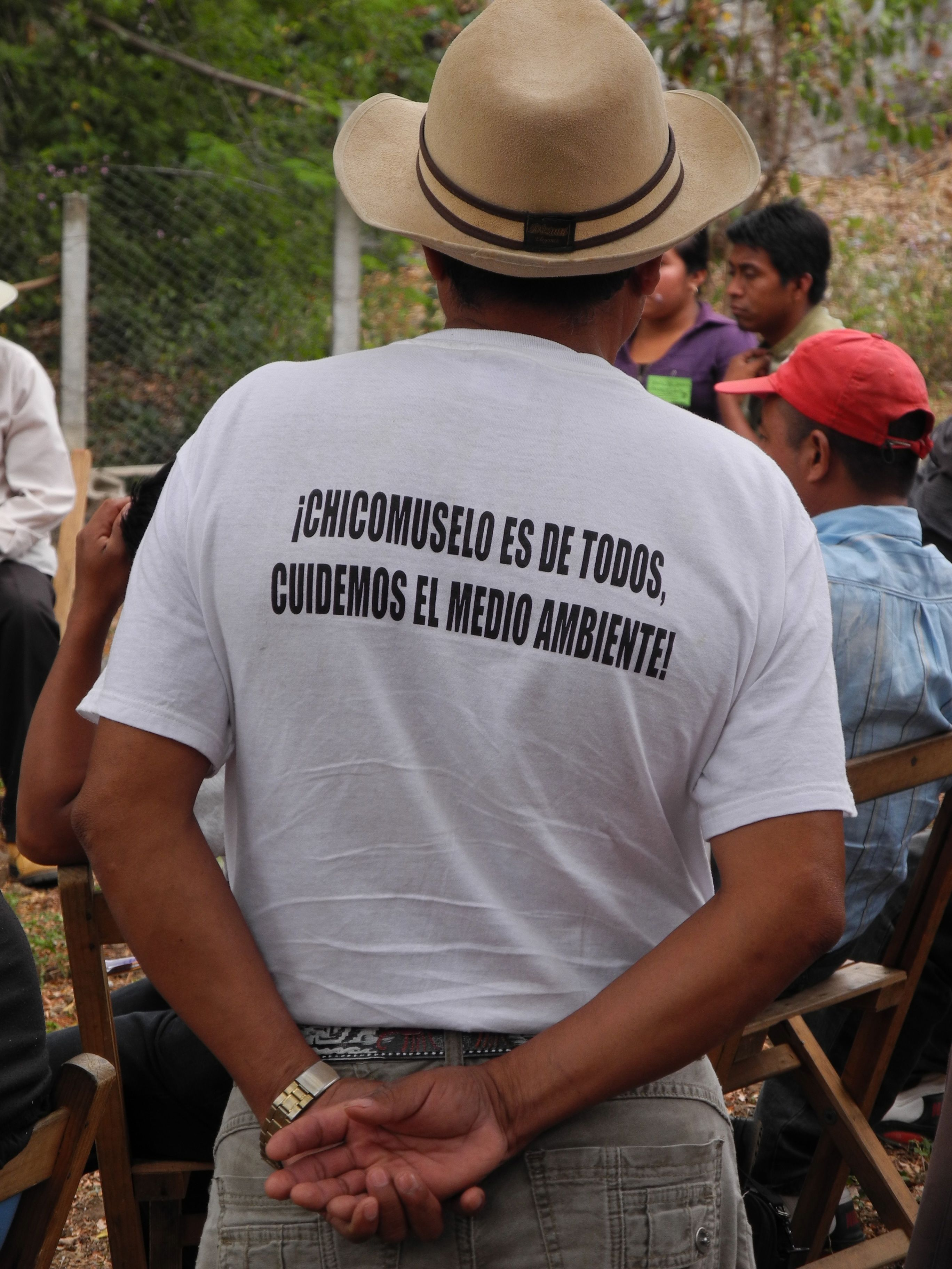 "Man's shirt reads: ""Chicomuselo belongs to us all, we take care of the environment!"" Resistance to mining in Chicomuselo, Chiapas continues where Blackfire Exploration operated the Payback barite mine until it was shuttered in December 2009, shortly after the murder of local activist Mariano Abarca. Photo: MiningWatch"