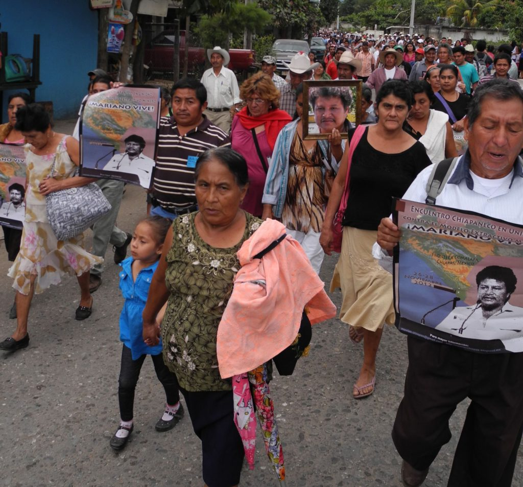 Thousands march against mining in Chicomuselo, Chiapas and in memory of Mariano Abarca, killed on November 27, 2009 in connection with his resistance to Blackfire Exploration's Payback barite mine. Photo: MiningWatch