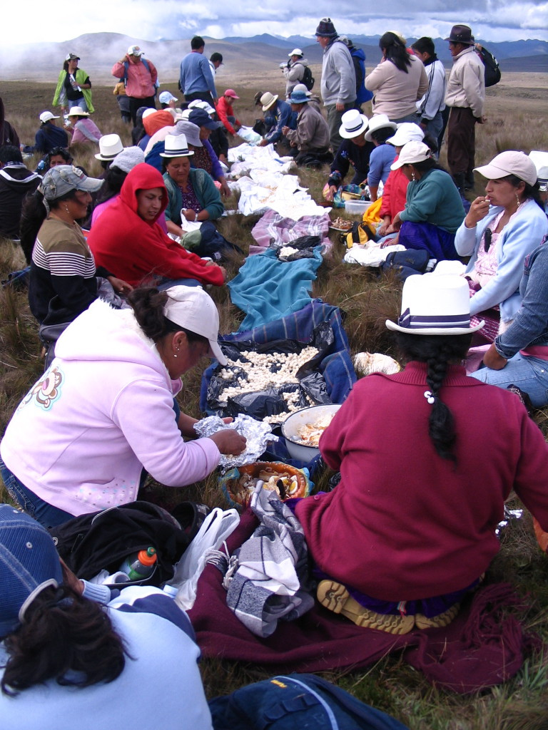 Community members hold a pampamesa - a traditional meal - after making a pilgrimage to the site of a gold and silver project that belongs to INV Metals (originally IAMGOLD) in defence of their water supplies and the páramo known as Kimsacocha. Photo: MiningWatch