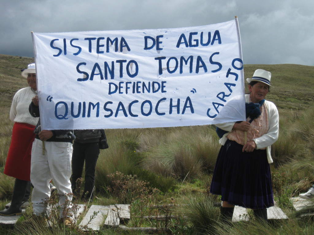 The community water system of 'Santo Tomas' demonstrates its opposition to a proposed gold and silver project south of Cuenca, Ecuador. The project belongs to INV Metals (originally IAMGOLD) and threatens sensitive wetlands that are important to ensuring water supplies for downstream communities. Photo: MiningWatch