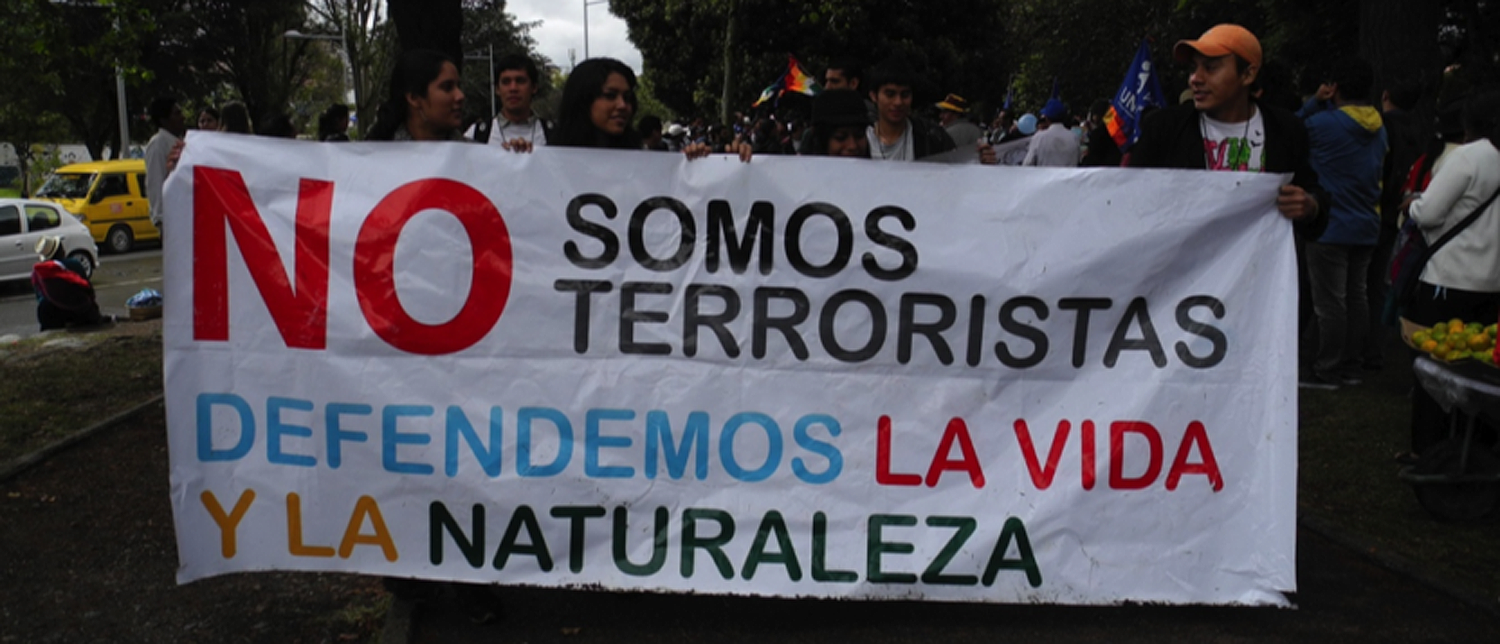"Banner in Cuenca, Ecuador: ""We are not terrorists, we defend life and nature."""