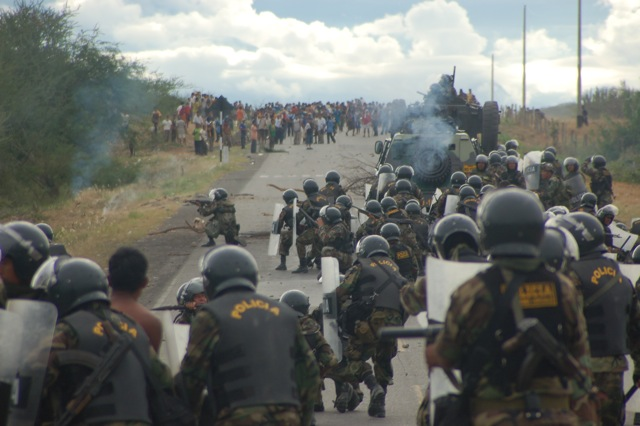 Armed forces are ordered to end a 58-day protest against the privatization of Indigenous lands in Peru's northern Amazon on Earth Day, June 5, 2009.