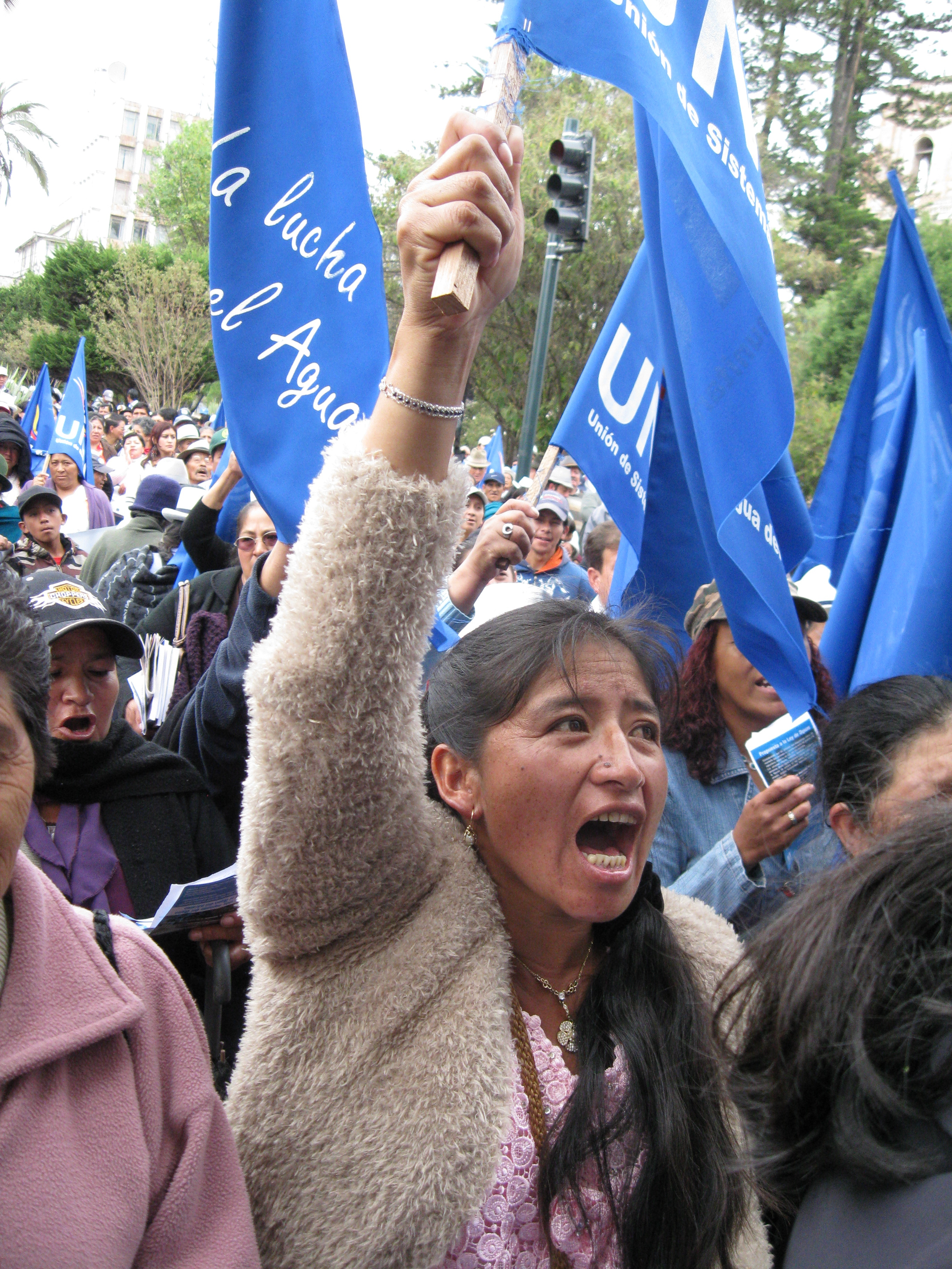 For over a decade, affected communities and local organizations, including the Union of Community Water Systems of the Province of Azuay, have protested a proposed gold and silver project that belongs to INV Metals (originally IAMGOLD) that threatens precious water supplies and the páramo known as Kimsacocha. Photo: MiningWatch