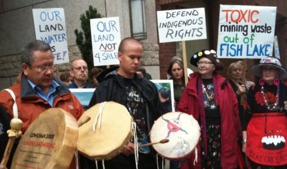 Tsilhqot'in First Nation protest against Taseko Mines proposed Prosperity mine in British Columbia, Canada.