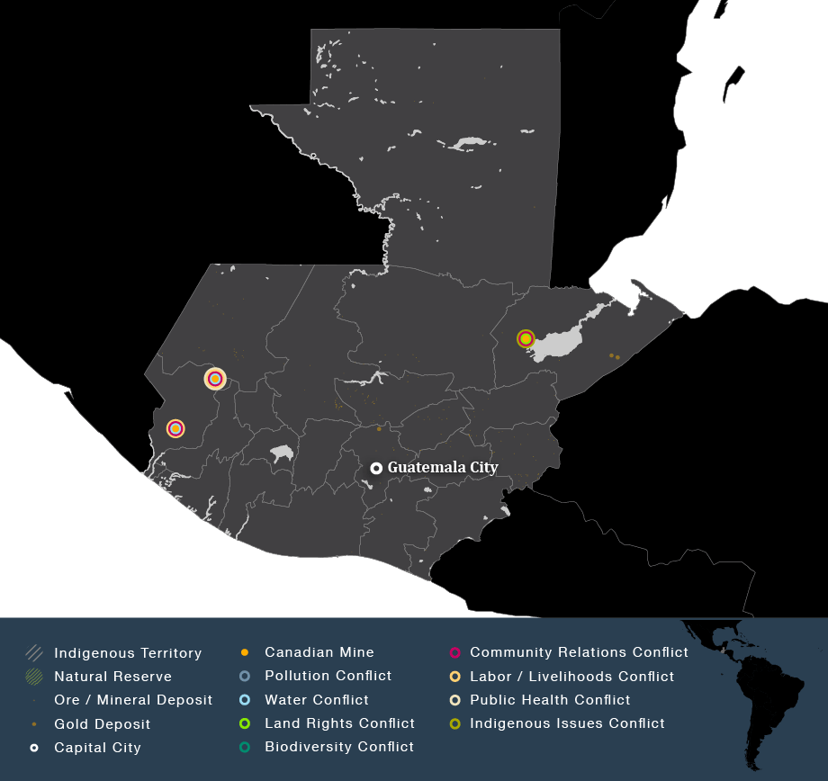 map of Guatemala showing Indigenous territory, location of Canadian mines and location of different mining conflicts