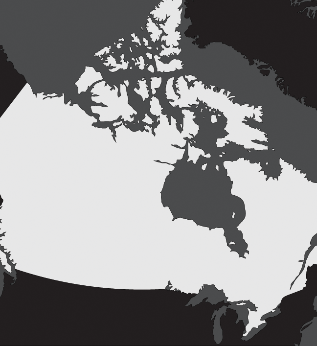 a flat back and white map of canada showing the simple boundaries of the territory