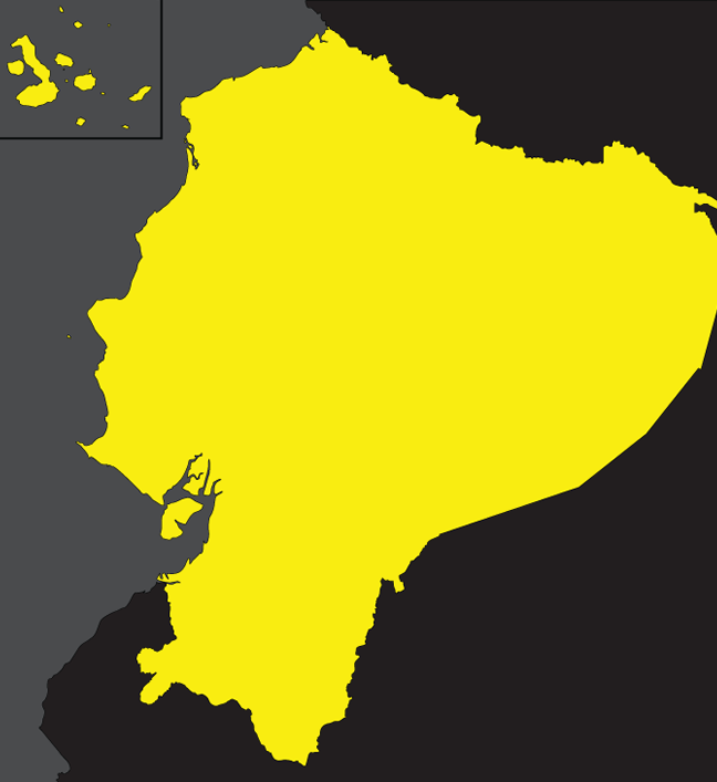 a flat black grey and yellow map of ecuador showing the simple boundaries of the territory