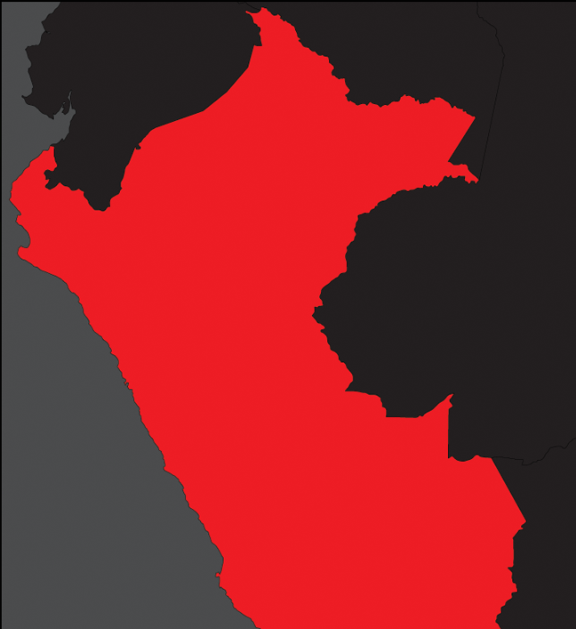 a flat black grey and red map of peru showing the simple boundaries of the territory
