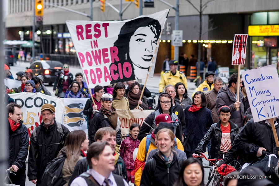 A large crowd of protesters in Toronto, Canada