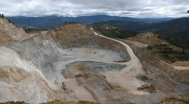 Goldcorp's Marlin mine - view of an open pit mine with mountains in the background