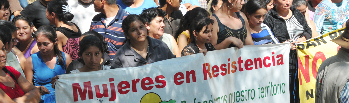 """A large crowd of mostly women stand behind a white banner with red and green lettering """"Women in Resistance"""""""