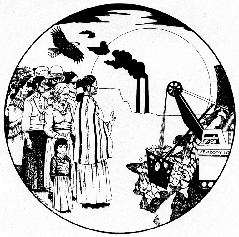 A black and white drawing of a group of Indigenous people standing in opposition to an open-pit mine with a smokestack in the background and an eagle flying in the sky.