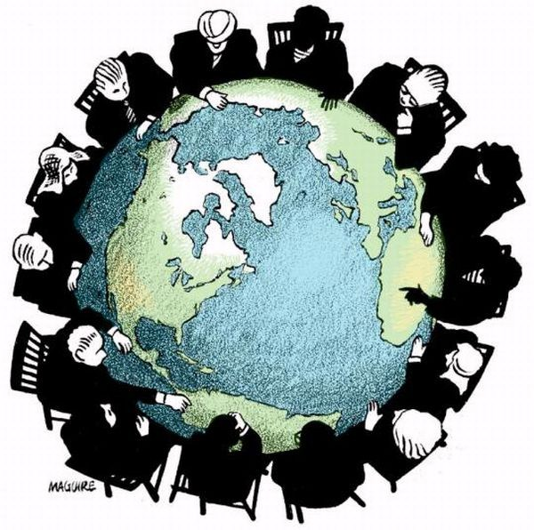 cartoon of the earth with men in suits surrounding it like it's a table